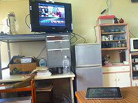 AppleTVでAirPlayミラーリング。無線で地デジテレビに接続されています。