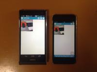 個人所有のAndroid携帯からiPod Touchに写真を送る様子。